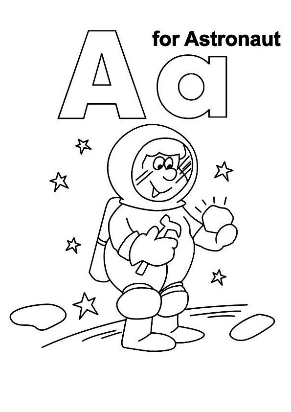 The A For Astronaut Coloring Page Space Coloring Pages Kids Handwriting Practice Planet Coloring Pages