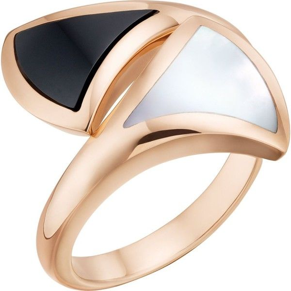 BVLGARI Diva 18ct pink-gold ring (9.980 RON) ❤ liked on Polyvore featuring jewelry, rings, bulgari jewelry, rose gold jewelry, rose gold ring, bulgari and red gold jewelry