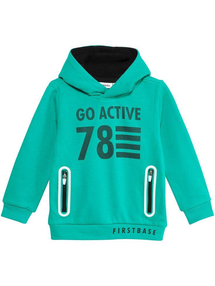 Grön hoodie med tryck och fickor - Barn - Hos KappAhl