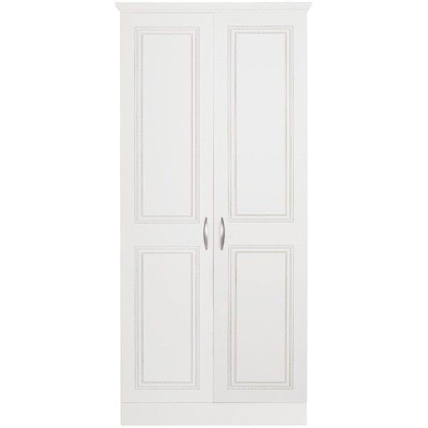 Consort Dorchester Ready Assembled 2-Door Wardrobe ($230) ❤ liked on Polyvore featuring home, furniture, storage & shelves, armoires, door furniture, storage shelf, colored furniture, shelving furniture and storage shelves