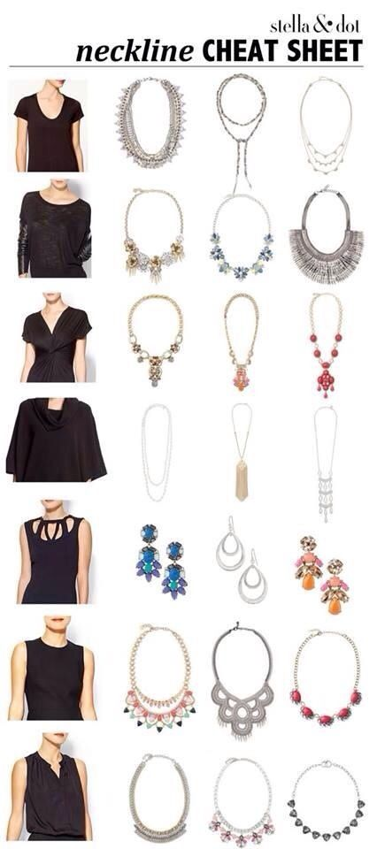 Neckline cheat sheet by Stella & Dot. The perfect print off and pin to closet door! Need help? Www.stelladot.com/Beccaheeter