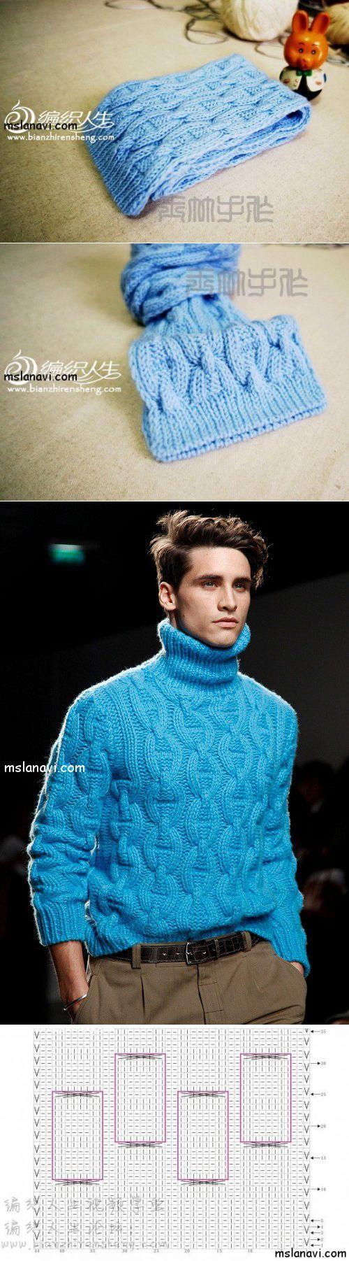 """Вязаный шарф спицами со схемой узора """"якорная цепь"""" и мужской свитер  Вяжем с Ланой"""