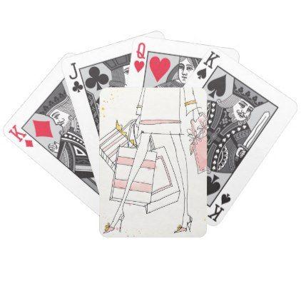 #Wild Apple | Modern Pink Fashion Sketch Bicycle Playing Cards - #cute #pink #sweet #custom