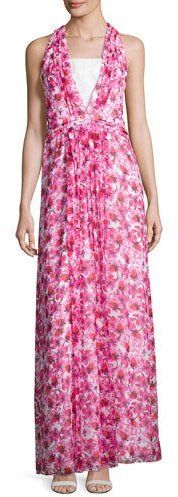 Kay Unger New York Floral Printed Sleeveless Gown, Pink/Multi
