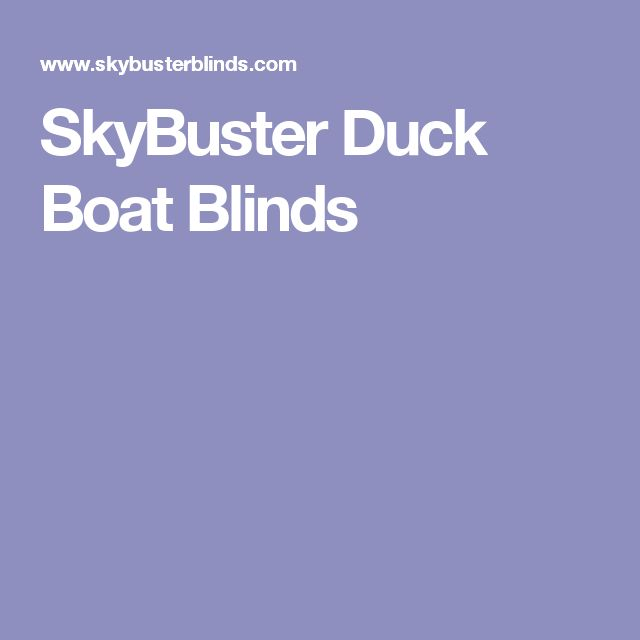 SkyBuster Duck Boat Blinds