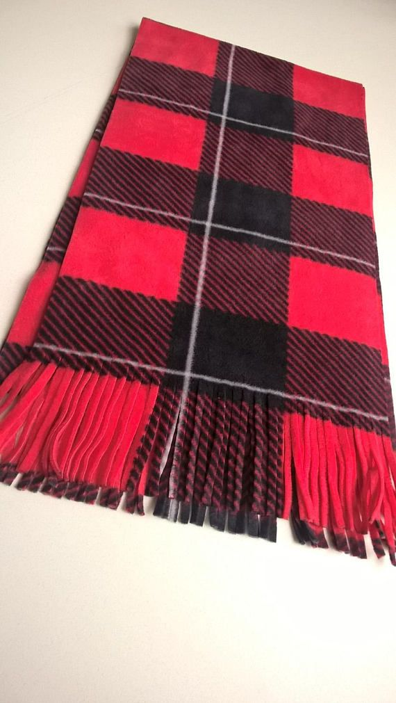 Bright Red Tartan Plaid Scarf Red and Black Plaid  Oversized