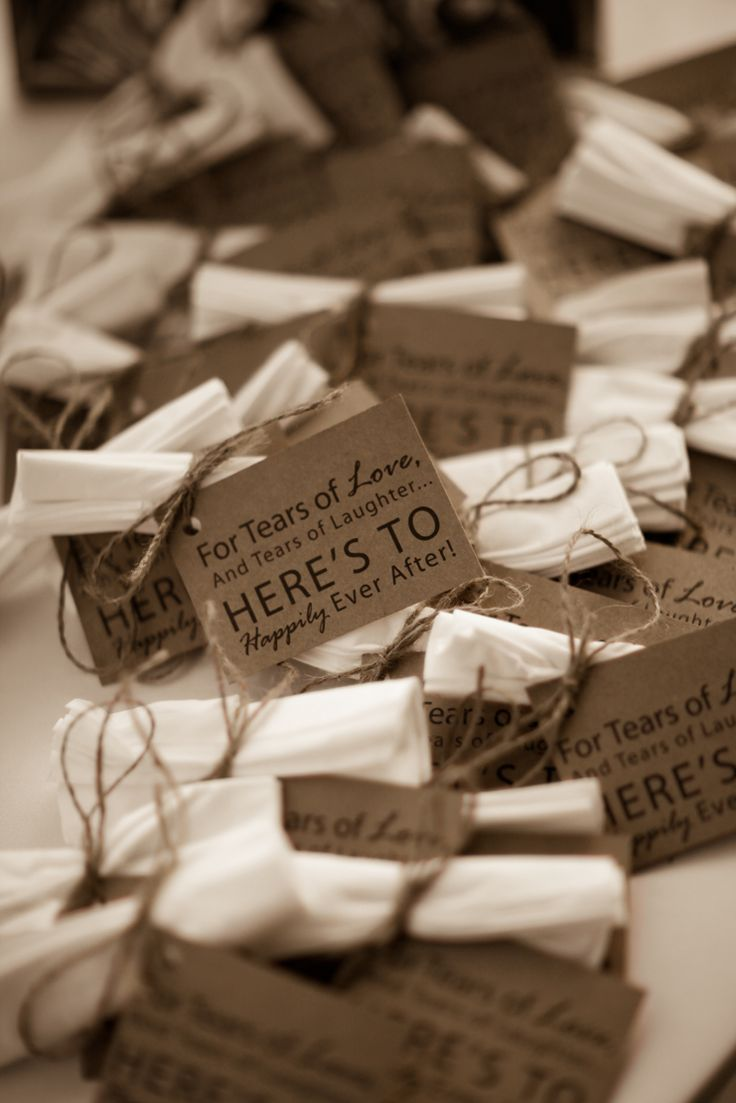 Vintage wedding favors- would use real hankies.                                                                                                                                                      More