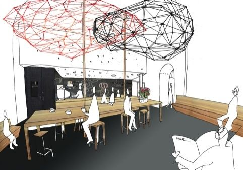Sketches, maybe google sketch up? looks cool. could also been photoshop. i like the lighting and ceiling features.