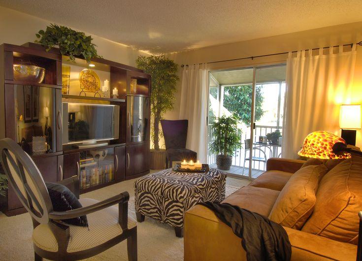 Small Space Condo Living Room, Zebra Ottoman, Tortoise Shell Lamp. TV Wall Unit