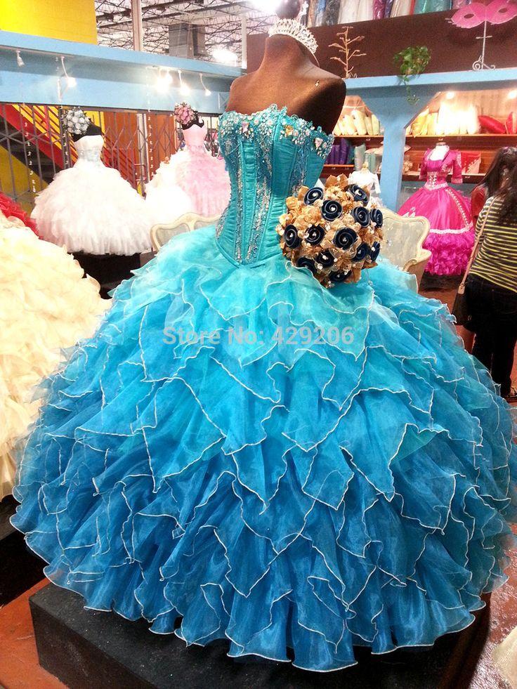 2014 neue Perlen Rüschen Prom Kleider 2014 Echt Bild Ball Gewachsen vestidos de 15 Nach Maß (D101) //Price: $US $160.00 & FREE Shipping //     #abendkleider