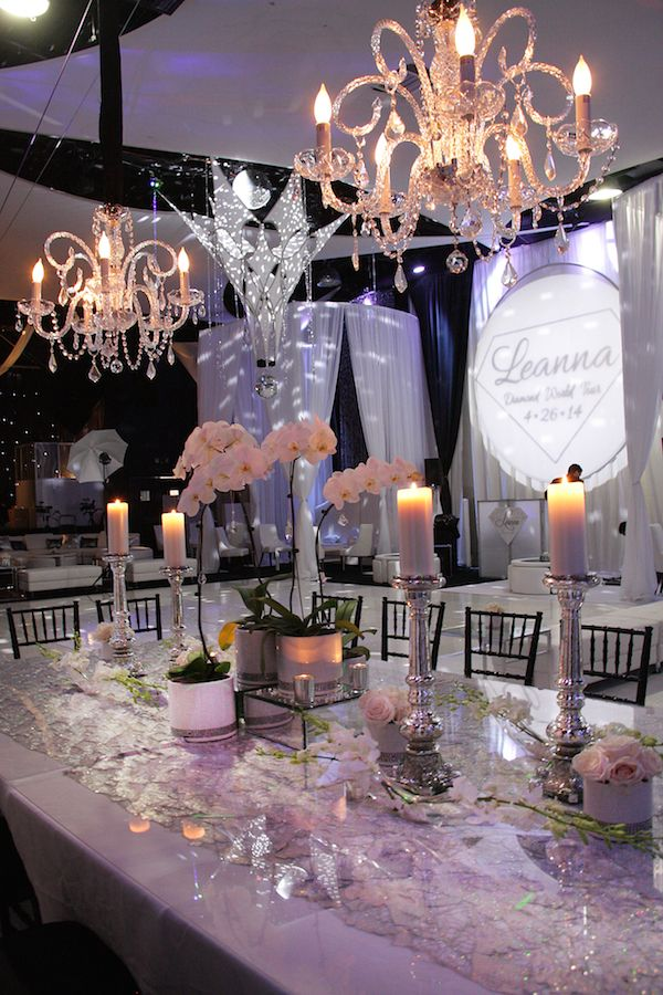 Modern Diamond & Bling Theme Bat Mitzvah Centerpieces, White Orchids {Venue & Party Planning: SPACE NJ, Chris Herder Photography} - mazelmoments.com