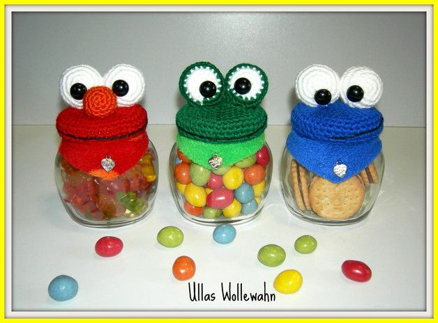 Häkelanleitung für drei lustige Monsterdeckel / diy crochet instruction: crochet monster lids by Ullas-WolleWahn via DaWanda.com