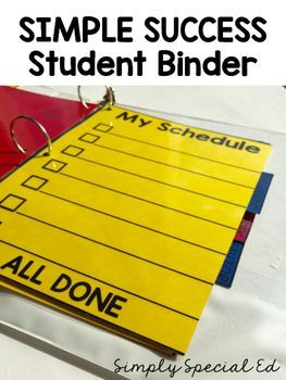 This binder is perfect to get your special education students organized! The simple style is color ink free and easy to spruce up by printing on brightly colored card stock and laminating to make long lasting.   The binder includes a dry erase schedule, reminder board, and weekly schedule. These are great to be used with a dry erase marker and erased as changes are make throughout the day. You could also add velcro and your own visuals for non readers!