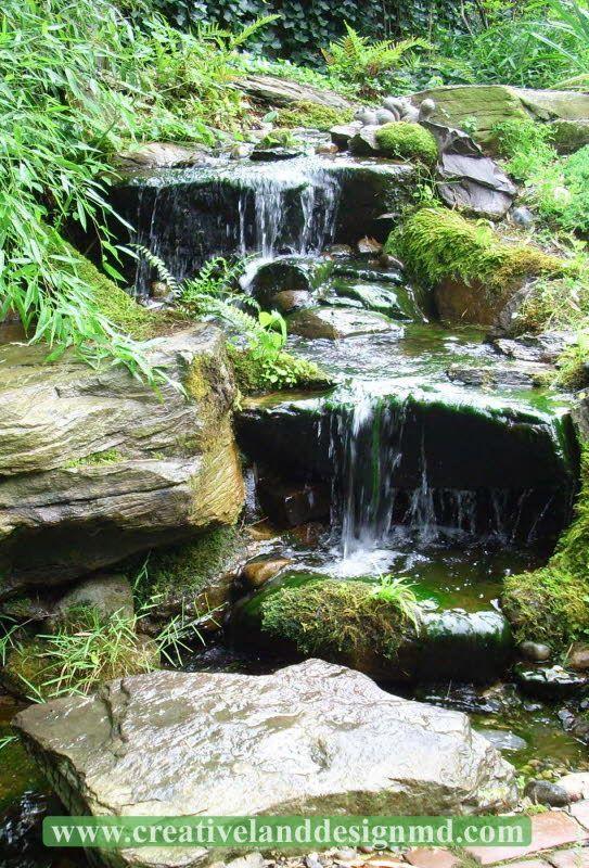 Back Yard Pondless Waterfalls | Beautiful Pondless Waterfall in Annapolis backyard by Creative Land ...