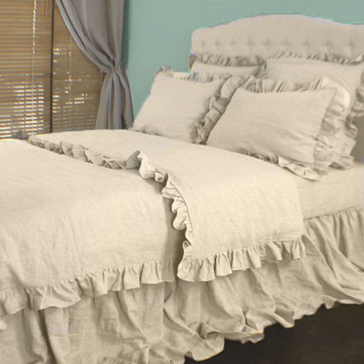 Bedding And Linens Part - 23: Ruffled Linen Duvet Cover | Romance Comforter Cover - Linenshed