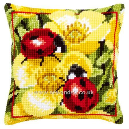Ladybirds on Yellow Flowers Cushion Front