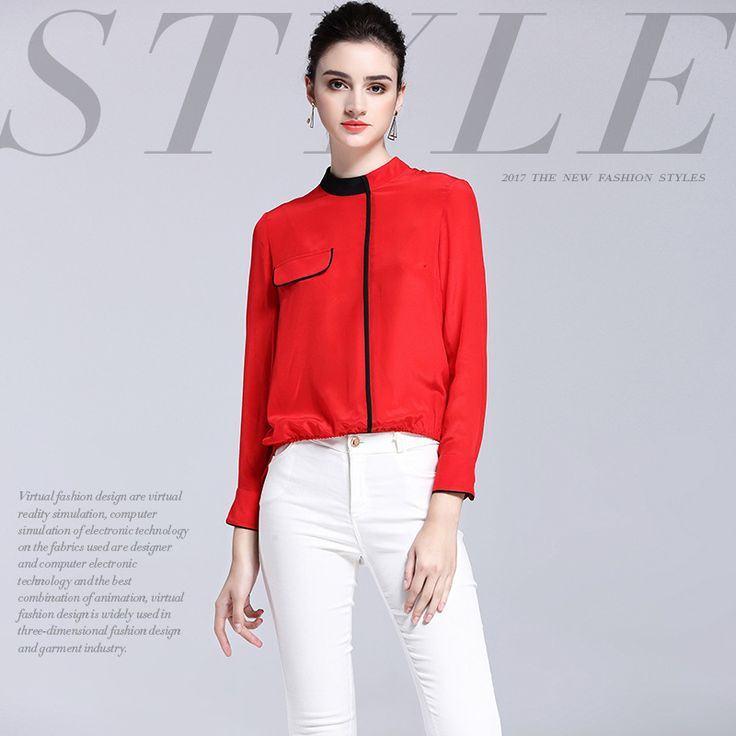 Silk T Shirt Women 2017 Spring Summer Fashion Personality Contrast Color Patchwork Pocket Stand Collar Long Sleeved T-Shirt Tops