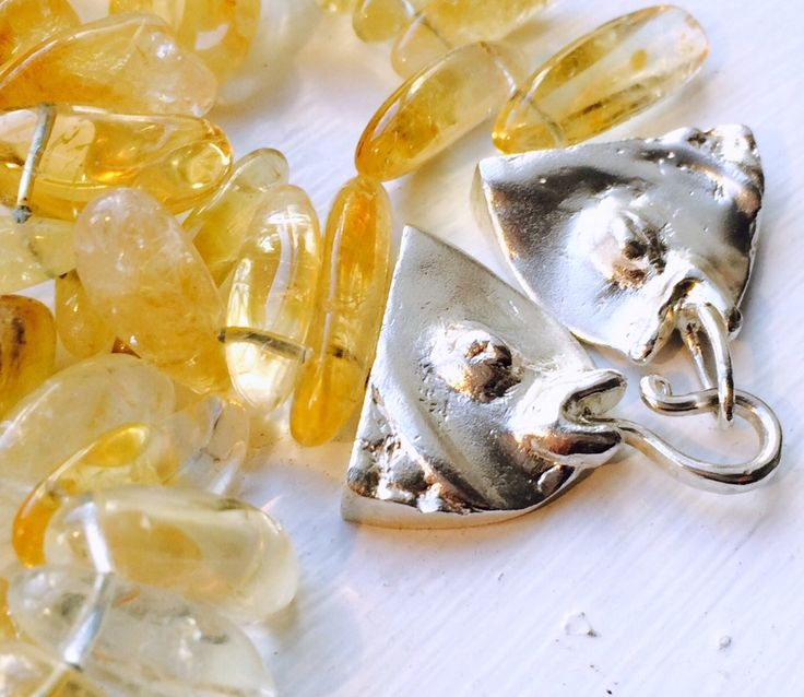 Big fishes necklace with citrine and topaz, Silver by kochiokada on Etsy