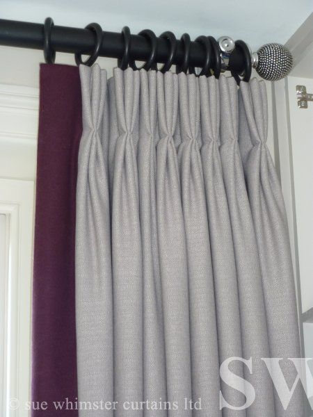 pinch pleated curtain with contrast edging