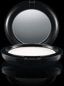 M.A.C's prep + prime clear finishing powder/pressed. I love to use this after I put on foundation and before bronzer or powder blush. It helps the color go on evenly. It also works GREAT for making the skin matte for pictures!