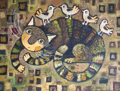 Просмотреть иллюстрацию Зеленый кот из сообщества русскоязычных художников автора Герасимова Дарья в стилях: Примитивизм, нарисованная техниками: Масло.