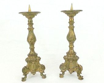 Set of 2 large antique brass candle sconces. by Curiosix on Etsy