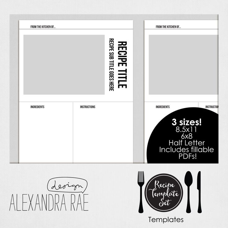TEMPLATES ONLY: Create your own recipe book with these Recipe Templates! This set contains the templates you need to create recipes for your own recipe book. You can go digi or hybrid with our laye…