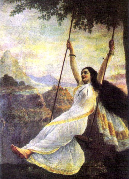 "Shiva sees ""Mohini on a swing"" (1894 by Raja Ravi Varma). The painter suggests her seductive nature by showing her torso peeping through her sari."
