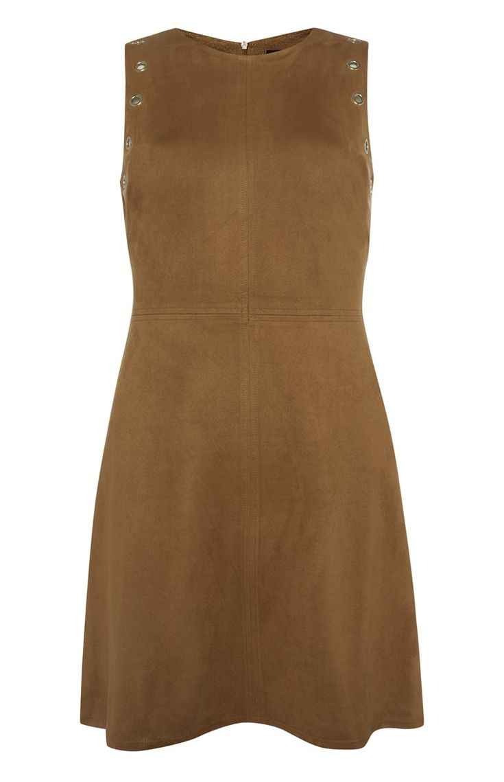 Primark - Bruine suède jurk met perforaties