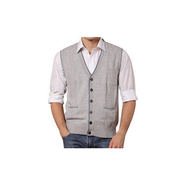 s Warm Woolen Single Breasted Cardigan Sweater Vest ($29) ❤ liked on Polyvore featuring men's fashion, men's clothing, men's outerwear, men's vests, light gray, men coats & jackets vests, mens sweater vest, mens multi pocket vest, mens wool vest and mens light grey vest