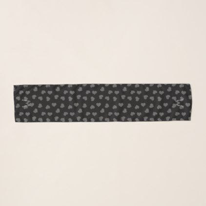 #Pretty Grey Black Hearts Pattern Monogrammed Scarf - #cute #gifts #cool #giftideas #custom