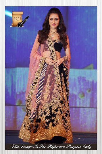 Shraddha Kapoor Blue and Gold Color Bollywood Lehenga Choli Online ,Veeshack.com | Fashion for the World - 1