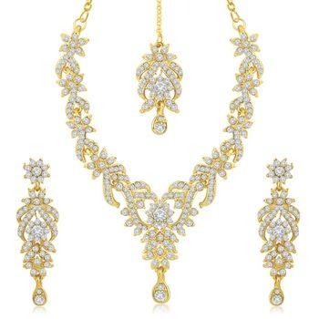 Trendy Gold Plated Australian Diamond Stone Studded Necklace Set #GoldColourJewellery  #GoldColourJewelleryonline  #GoldColourJewellerySet  #GoldColorJewellery  #GoldColorJewellerySets  #Goldcolorjewelry  #Goldcolourjewelry  #goldcolornecklace