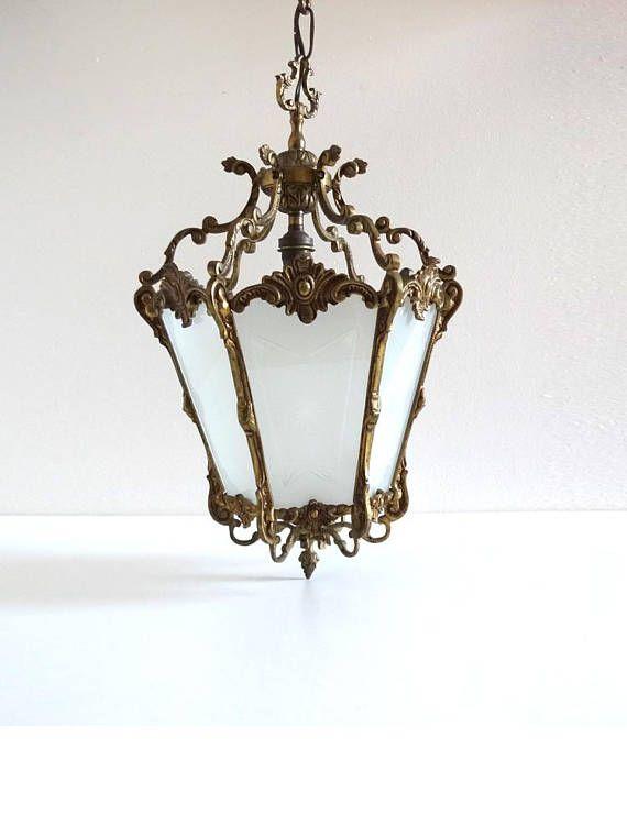 Vintage Golden Bronze Pendant Light  French Antique Lantern