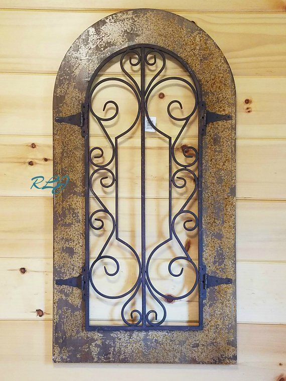 Old World Antique Rustic Scrolling Arched Window Wood