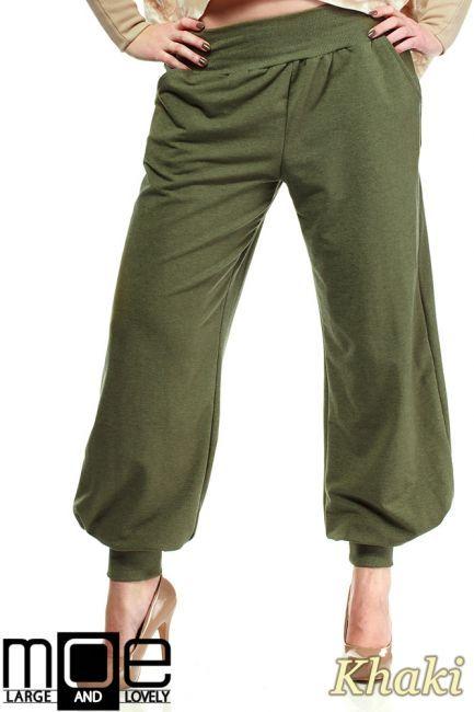 Spodnie typu baggy - pumpy ze ściągaczami przy kostkach marki MOE.  #cudmoda #moda #styl #ubrania #odzież #clothes #xxl #plus_size
