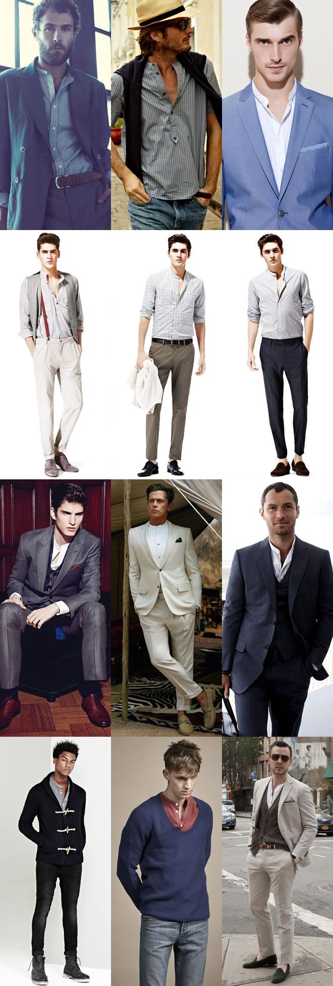 I just love the cool way grandad collar shirts bring to any look, both too casual or workwear apparel.