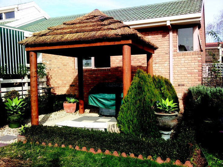 The African Thatch balinese hut is made from cape reed tiles. It can get up to 15 degrees cooler under an African thatch and also acts as a natural insulator, making it the perfect outdoor gazebo for the cool and hot months. These come with or without decks.