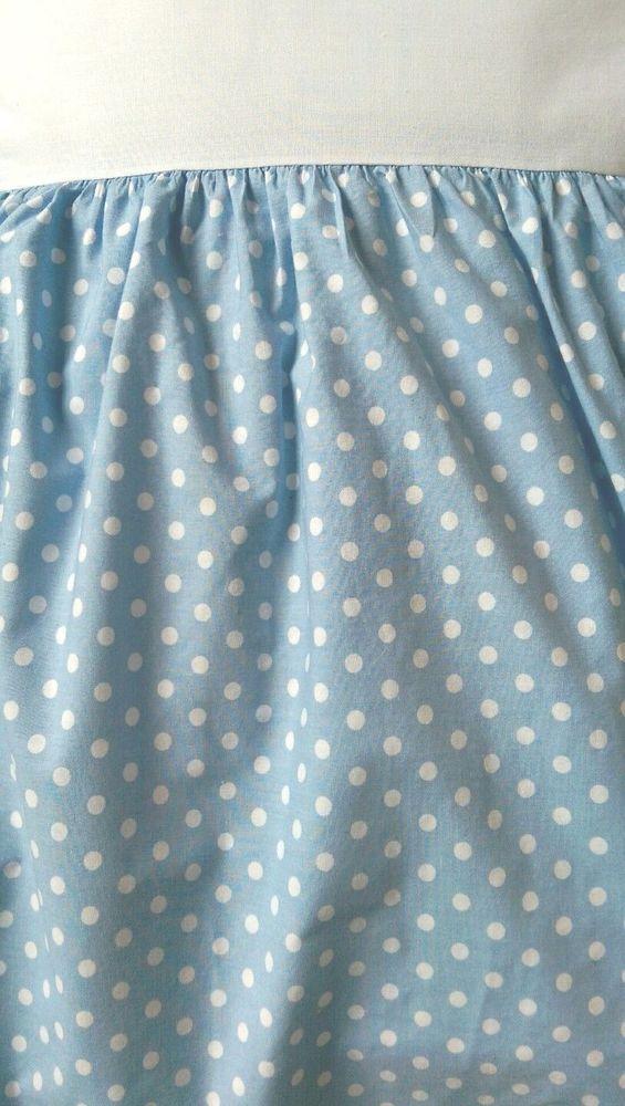 """Eddie Bauer Twin Blue White Polka Dot Dust Ruffle Bed Skirt 15.5"""" Drop #EddieBauer"""