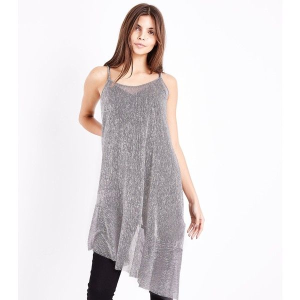 Silver Metallic Asymmetric Slip Dress (26 CAD) ❤ liked on Polyvore featuring dresses, silver, silver dress, silver slip dress, going out dresses, holiday party dresses and white night out dresses