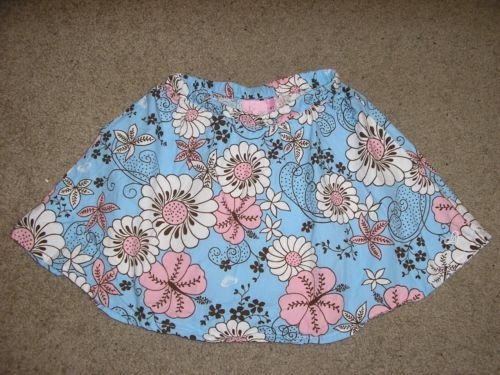 AS-NEW-Roxy-Girls-Pink-White-Blue-Floral-Flare-Skirt-Size-4