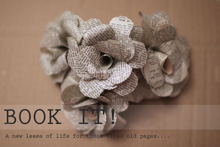Paper flowers from old books wedding