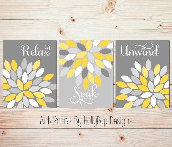 Relax Soak Unwind Yellow gray bathroom art prints Spa artwork Bath decor Floral bathroom artwork Dahlia flowers SET OF 3 UNFRAMED ART PRINTS #1043