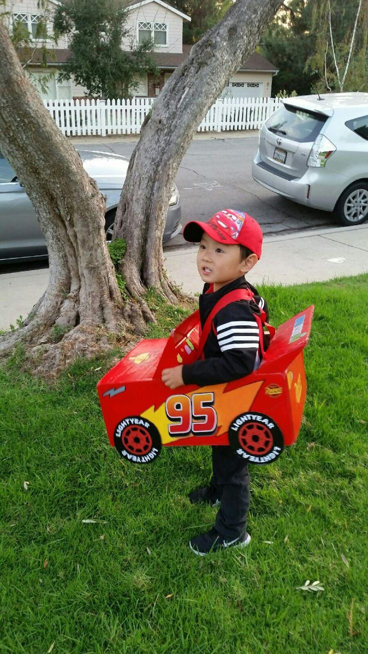 Homemade Lightning McQueen Halloween costume. Made from recycled amazon prime box
