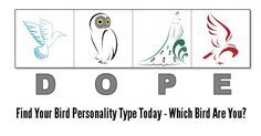 "DOPE Bird 4 Personality Types Test (Printable & Online Version) The DOPE bird personality test is one of those ""don't have to have a psychologist,"" fun, and useful tools that I've permanently added to my personal development toolbox. You see, you really are a complex combination of many different characteristics, strengths, motivations, and experiences. It's a gross understatement to say it's tough to pin down ""who"" or ""what"" you really are in life."