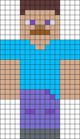 Steve From Minecraft Perler Bead Pattern / Bead Sprite