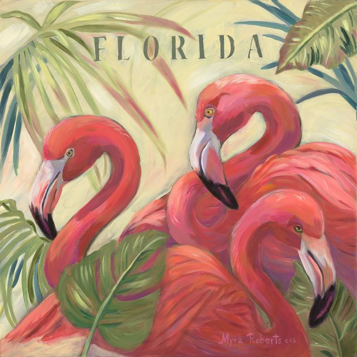 Three Flamingos Original oil painting