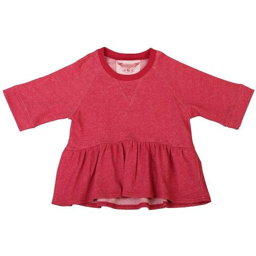 a sweater with style!in red marle with a frilled bottom, wide sleeves and internal pockets lined in painted blue heartsmade from 100% organic cotton by paper wings $69.95