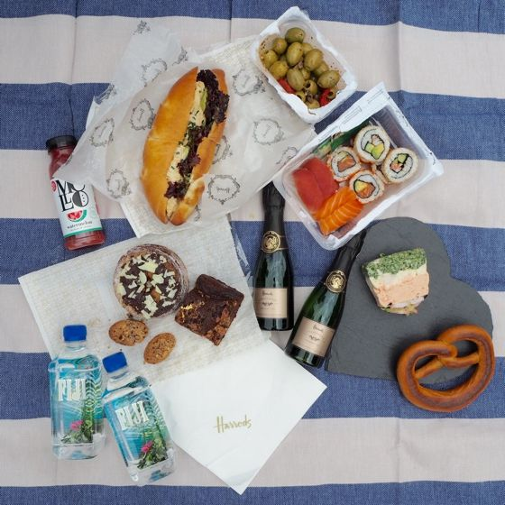 Harrods Food Hall picnic in Hyde Park, London