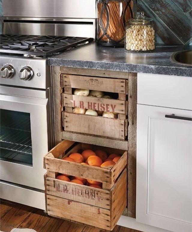 Ideia para armazenar vegetais frescos cozinha com visual rústico!